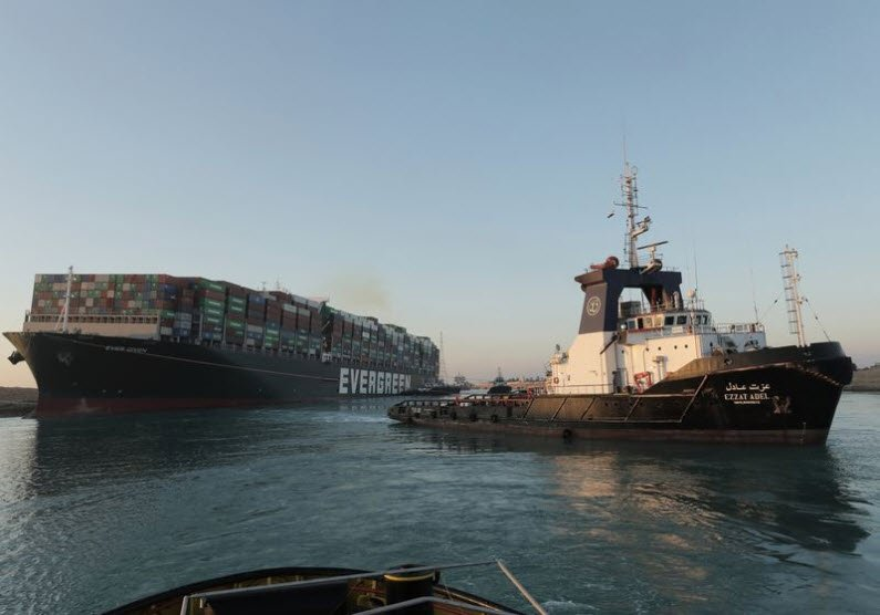 Re-floated Ever Given in Suez Canal